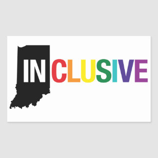 Inclusive Indiana | Sticker, Rainbow Rectangular Sticker