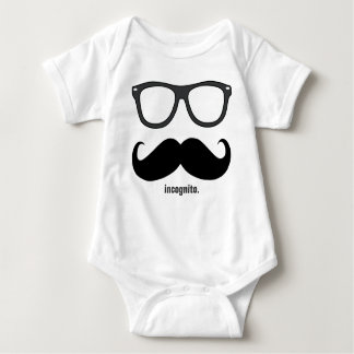 incognito - funny mustache and dark grey shades baby bodysuit