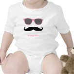 incognito - funny mustache and pink shades baby bodysuit