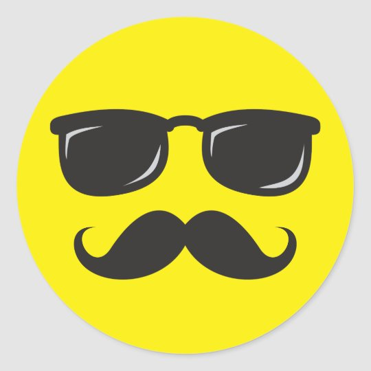 Incognito smily face with moustache and sunglasses classic round sticker