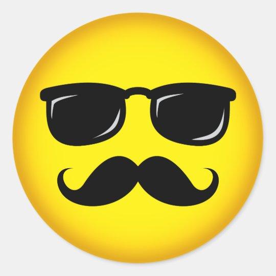 Incognito yellow moustache smiley sticker