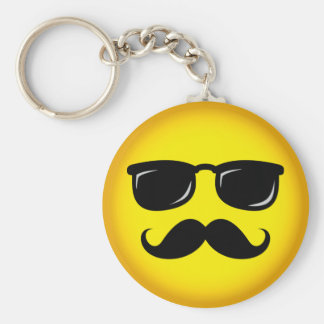 Incognito yellow mustache smiley keychain