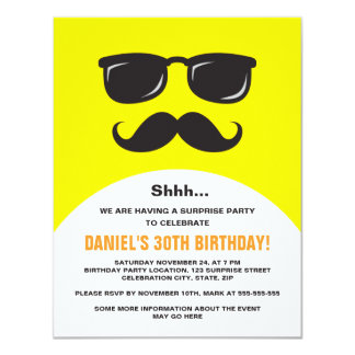 Incognito yellow surprise party invitation