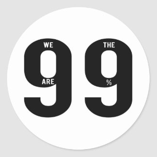 Incoming goods of acres the 99 Percent. Round Sticker