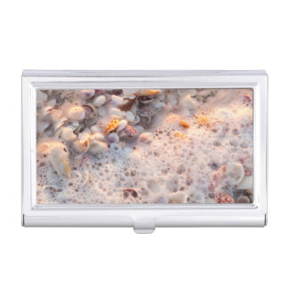 Incoming Surf And Seashells On Sanibel Island Business Card Holder