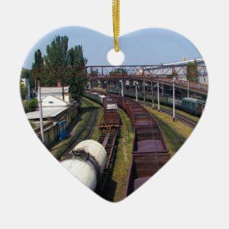 Incredibly Long Cargo Train Ceramic Heart Decoration