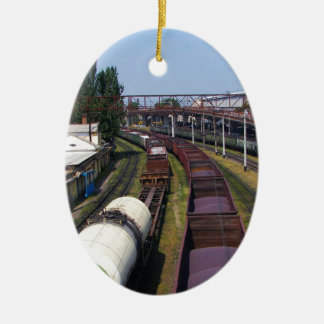 Incredibly Long Cargo Train Ceramic Oval Decoration