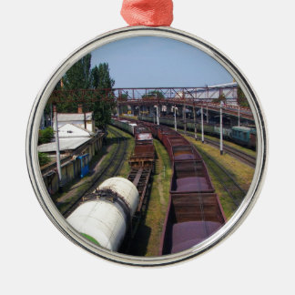 Incredibly Long Cargo Train Silver-Colored Round Decoration