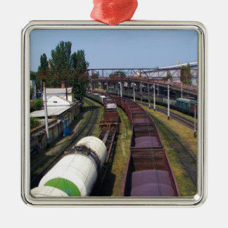 Incredibly Long Cargo Train Silver-Colored Square Decoration