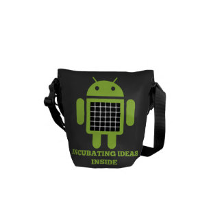 Incubating Ideas Inside (Bug Droid Grid Illusion) Courier Bags