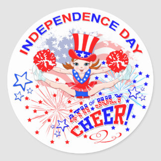 Independence Day, 4th July, Cheer Round Sticker