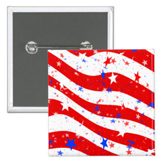 Independence Day Curved Stars and Stripes 15 Cm Square Badge