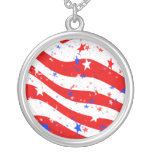 Independence Day Curved Stars and Stripes Necklaces
