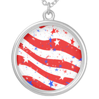 Independence Day Curved Stars and Stripes Silver Plated Necklace