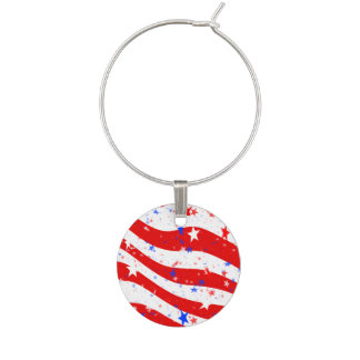 Independence Day Curved Stars and Stripes Wine Charm