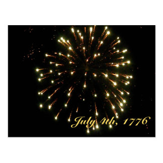 Independence Day Gold Fireworks Postcard