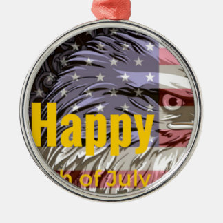 Independence Day - Happy 4th (fourth) July Silver-Colored Round Decoration