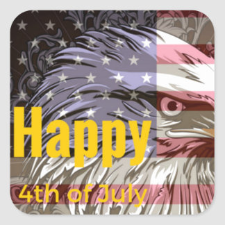 Independence Day - Happy 4th (fourth) July Square Sticker