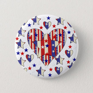Independence Day Hearts 6 Cm Round Badge