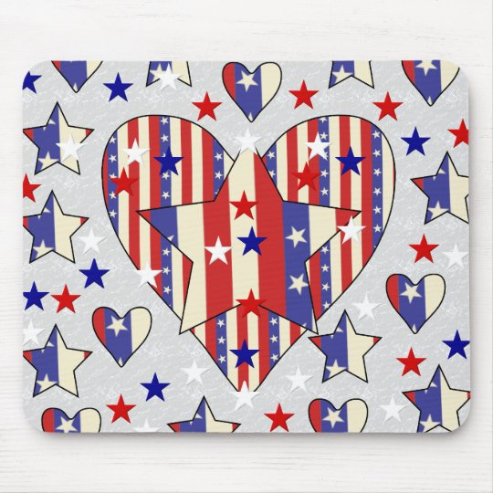 Independence Day Hearts Mouse Mat