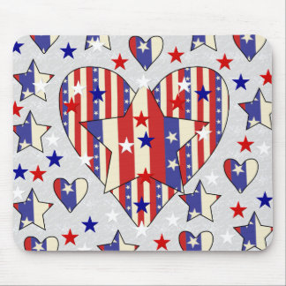 Independence Day Hearts Mouse Pads