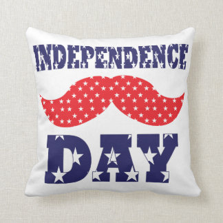 Independence Day Moustache Throw Pillow