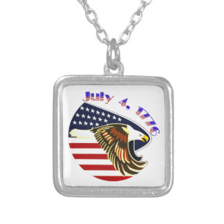 Independence Day Square Pendant Necklace