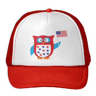 Independence Day Owl Mesh Hats