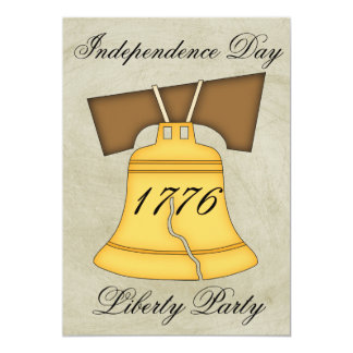 """Independence Day Party-Liberty Bell/Vintage Look 5"""" X 7"""" Invitation Card"""