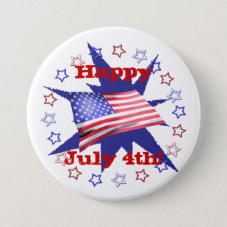 Independence Day Star Circle 7.5 Cm Round Badge