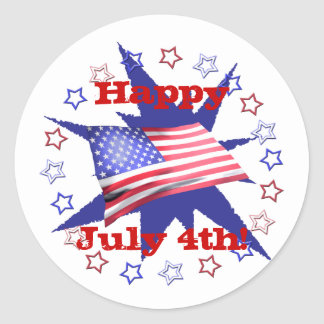 Independence Day Star Circle Round Sticker