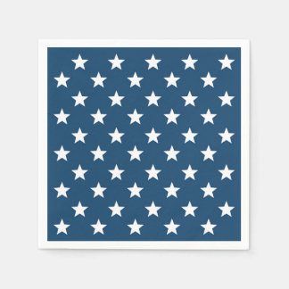 Independence Day Stars in White on Navy Blue Paper Napkins