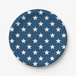 Independence Day Stars in White on Navy Blue Paper Plate