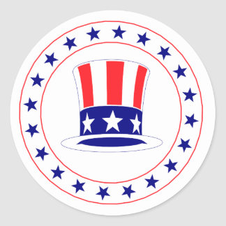 Independence Day Uncle Sam's Hat Round Sticker