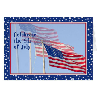 Independence Day with Three Flags Card