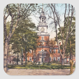 Independence Hall Philadelphia, PA 1900 Vintage Square Sticker