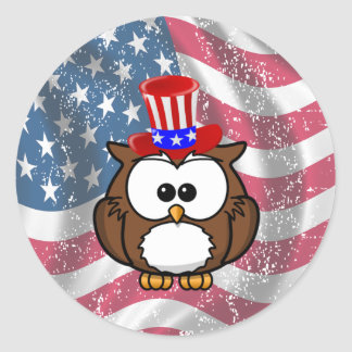Independence owl Day Classic Round Sticker