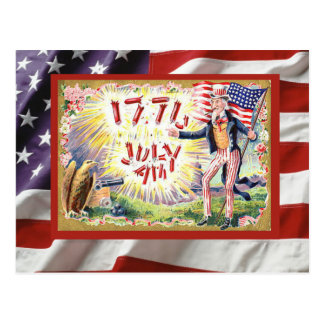 Indepenence Day, 4th of July, Uncle Sam Postcard