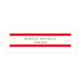 Indestructible Plain Slim Red Lines Simple Pack Of Skinny Business Cards