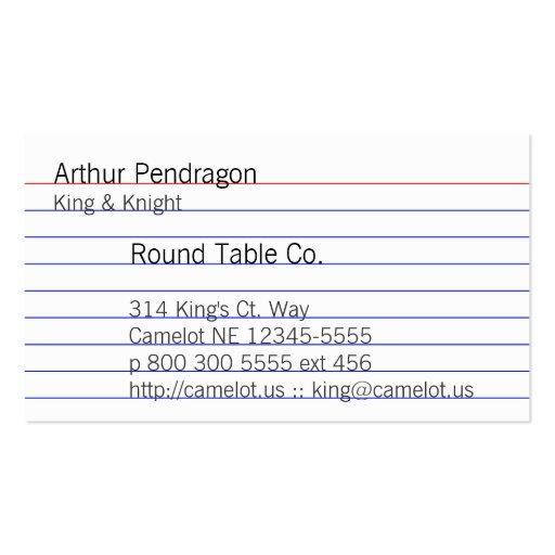 Index Card Business Card Templates