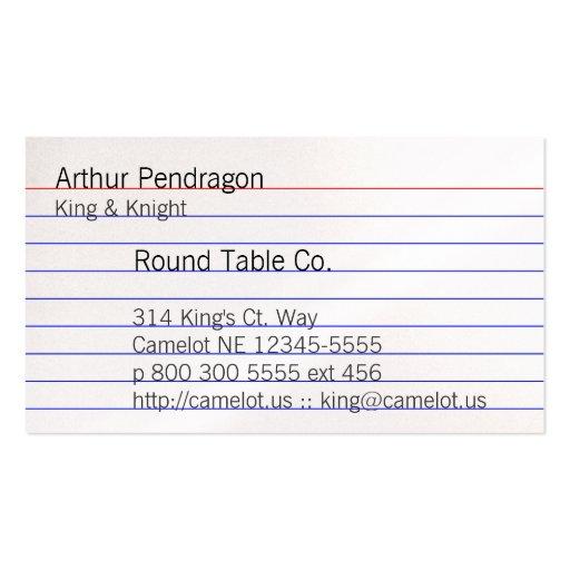 Index Card Business Card