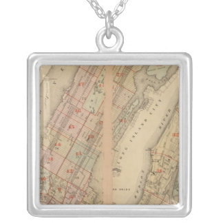 Index map Atlas, city of New York Silver Plated Necklace