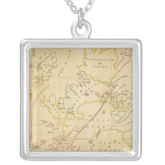 Index map silver plated necklace