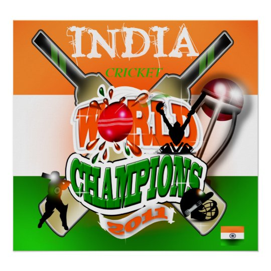 India 2011 ICC Cricket World Cup Champions Poster