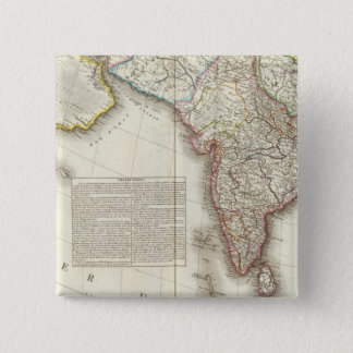 India and Asia Engraved Map 15 Cm Square Badge