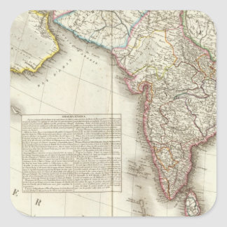 India and Asia Engraved Map Square Sticker