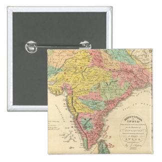India Battles and Seiges Chonology Map 15 Cm Square Badge
