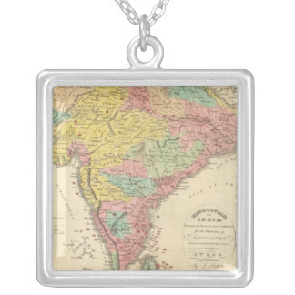 India Battles and Seiges Chonology Map Silver Plated Necklace