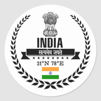 India Classic Round Sticker