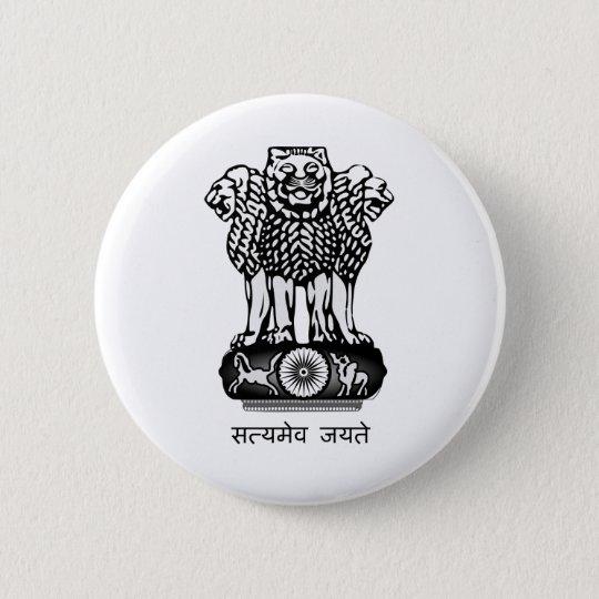 India coat of arms 6 cm round badge